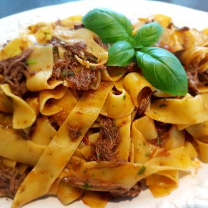 Pappardelle pasta med okse ragout